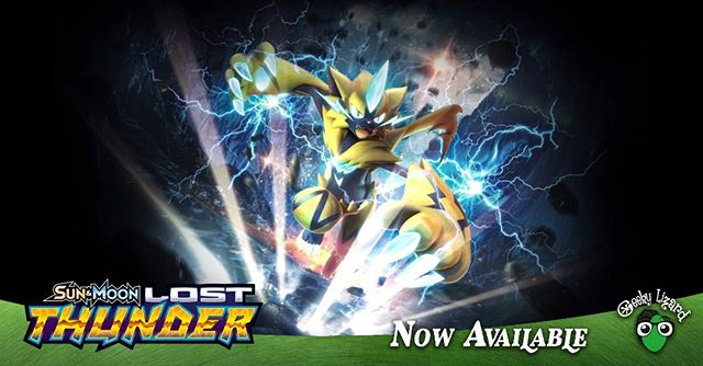 Lightning flashes as the biggest expansion to the Pokemon TCG is here! Lost Thunder ETB's. booster boxes, booster packs, theme decks and blisters are available at Geeky Lizard!  #pokemon #pokemontcg #lostthunder #dubai