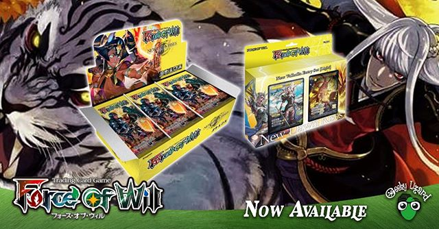 A New Dawn Rises at Geeky Lizard!  Force Of Will: New Dawn Rises Booster Boxes and Entry Decks are now available!  #ForceOfWill #FOWTCG #dubai