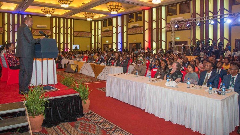 His Excellency Hon. Uhuru Kenyatta Speaking at the AfECN 2018 Conference.
