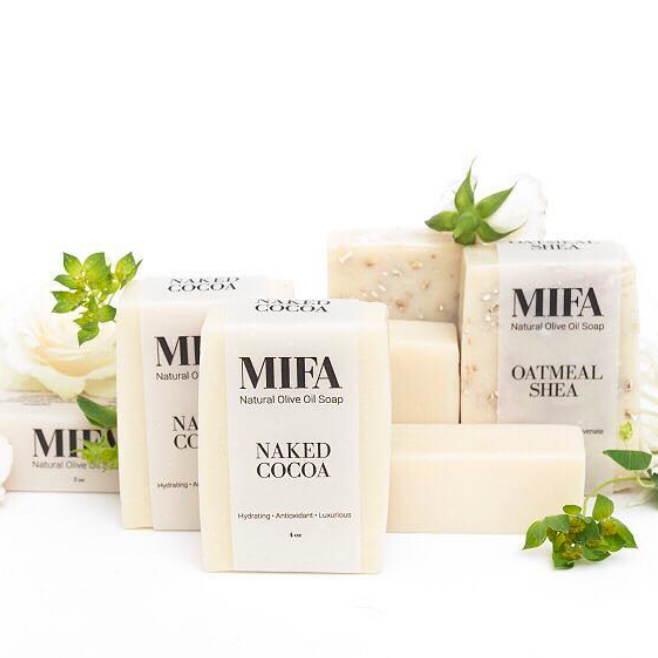 MIFA AND CO   This company creates bath and body products that are all natural, plant based and made with high quality organic ingredients. Their focus is to create goods that are 100% free from fillers + toxins, while promoting healthy, happy, gorgeous skin.