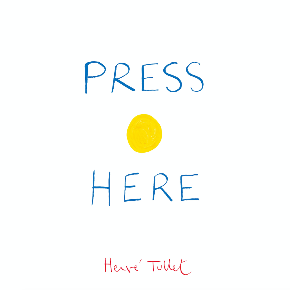 PRESS HERE  Press the yellow dot on the cover of this book, follow the instructions within, and embark upon a magical journey! Each page of this surprising book instructs the reader to press the dots, tilt the book, and who knows what will happen next!