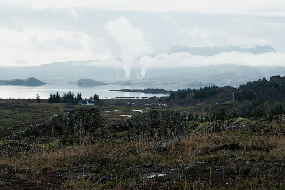 View of geotermal activity in Þingvellir National Park