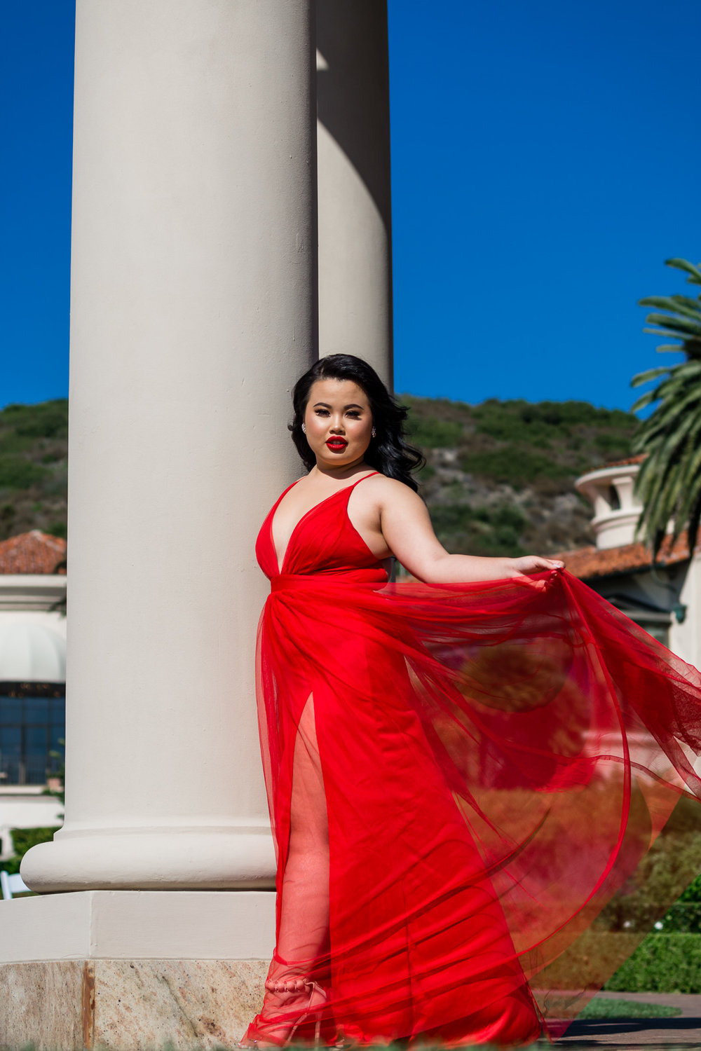Kim Thai in fashion nova red dress photoshoot