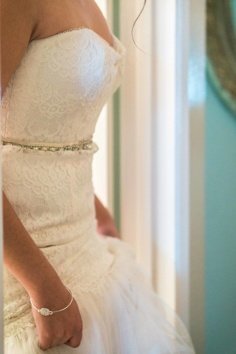 Beautiful candidate Color photo of the bride's Dress befor the ceremony on Balboa Island