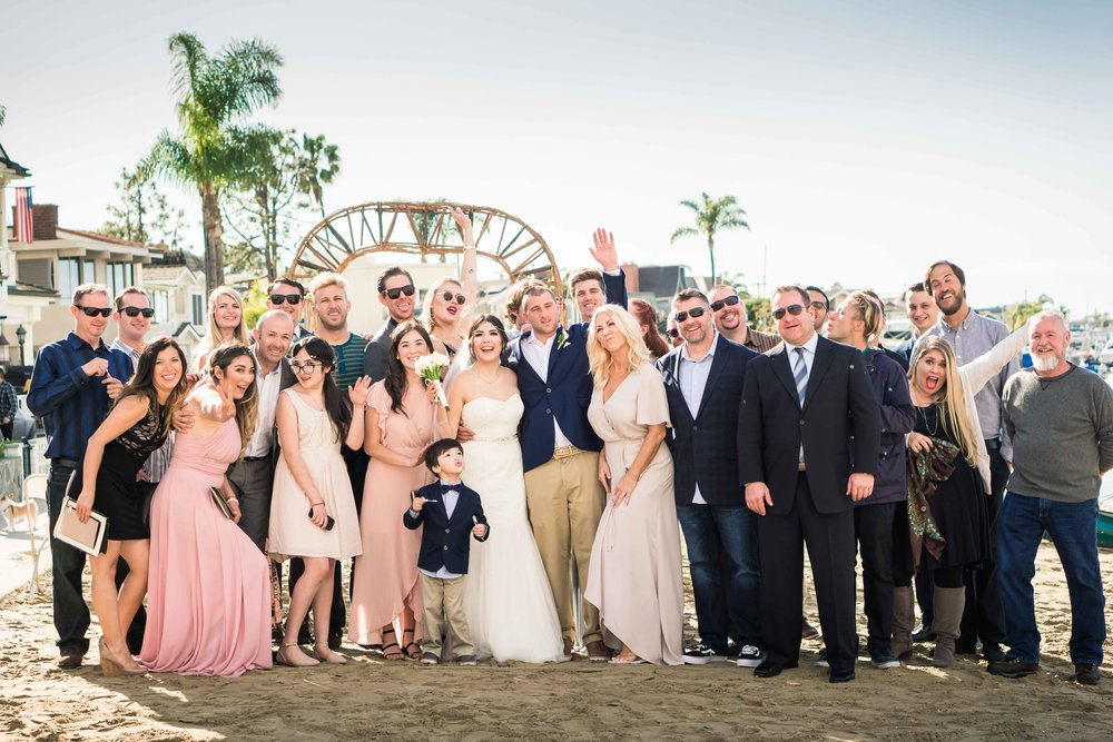 Group photo of all the wedding guests family