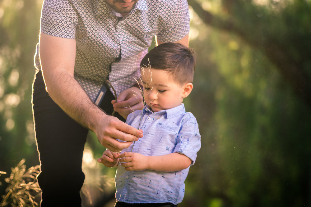 little boy and dad portrait during a Family portrait photo shoot in Fullerton on the Juanita Cooke Hiking Trail with green trees and grass and the golden hour sun
