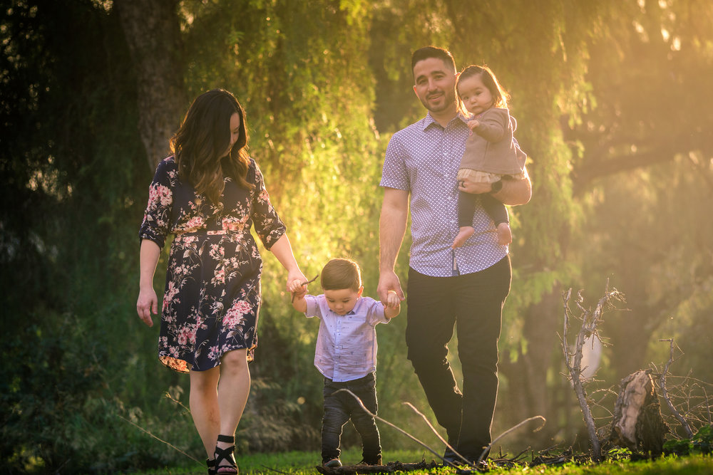 Candid family portrait of a family walking on the one Juanita Cooke trail in Fullerton Taken by Joseph Barber photography