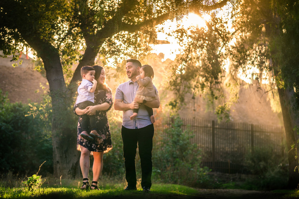 family portrait of a family During a Photo shoot on the juanita cooke Greenbelt trail in Fullerton During golden hour Taken by Joseph Barber photography