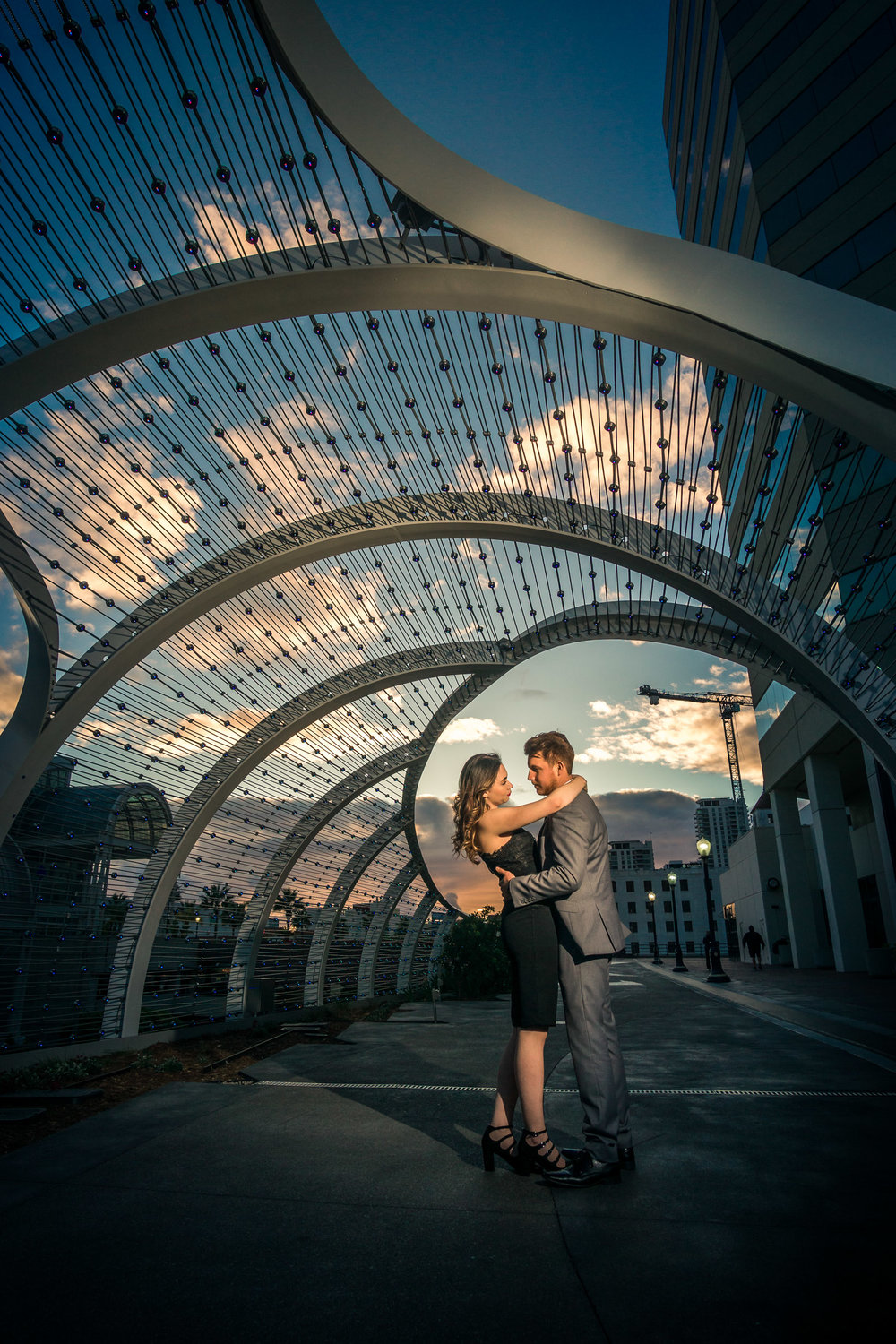 Modern couples engagement shoot in downtown Long Beach By Joseph Barber photography