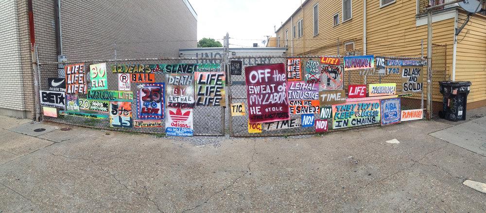 """Sentenced"" Acrylic, Spray Paint on Wood and Metal 2015"