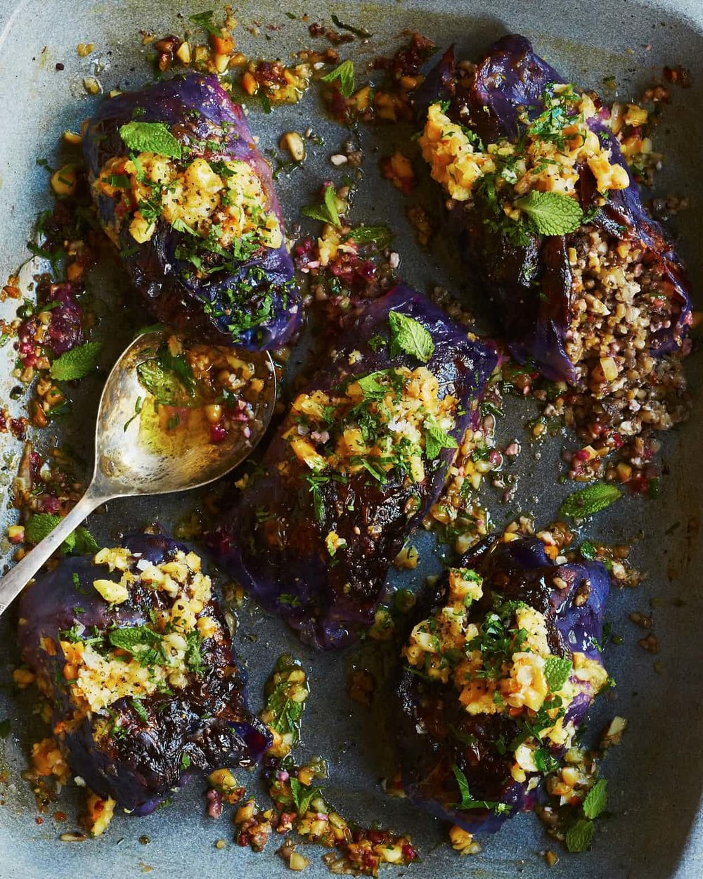 RED CABBAGE PARCELS WITH MACADAMIAS, MUSHROOMS AND CHESTNUTS   Creamy, sweet and herby all at once- these parcels are an amazing healthy alternative to a more traditional Christmas canape! The combination of bulgar wheat, sweet red onions and creamy nutty flavours is just too tasty for words!