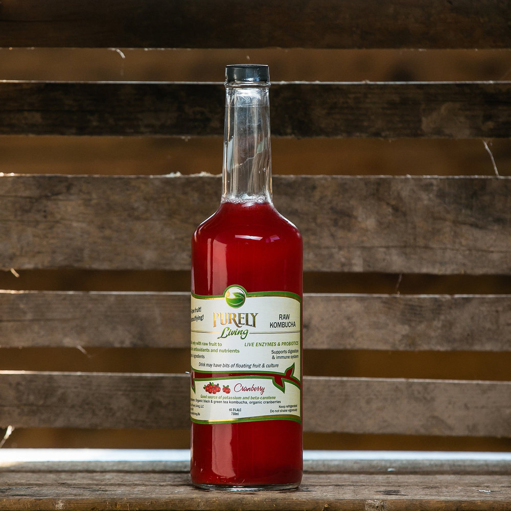 Cranberry - Ingredients:  Organic Black and Green Tea Kombucha, Organic Raw Cranberries