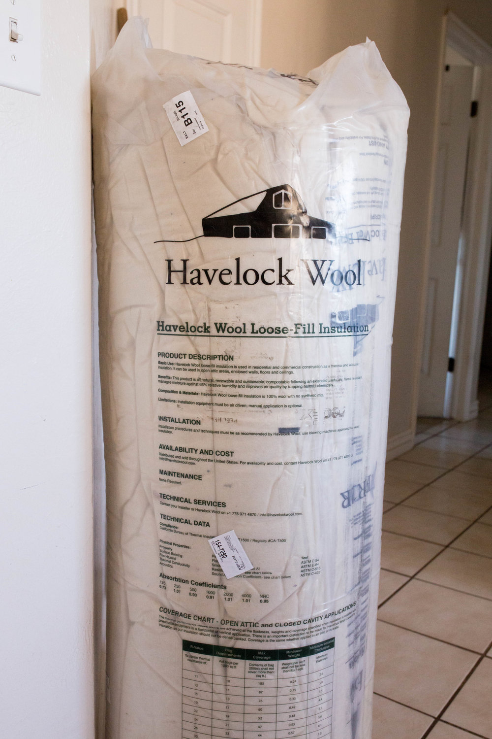 Three bags of 2-inch Havelock Wool batting -