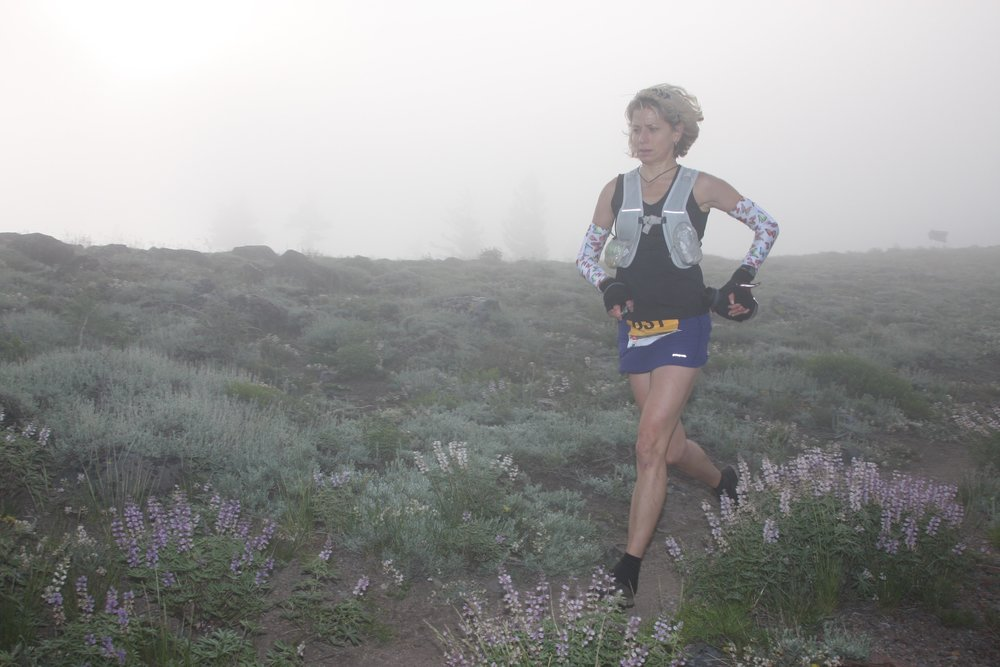 Susan Donnelly running the tough Tahoe 100-mile ultramarathon
