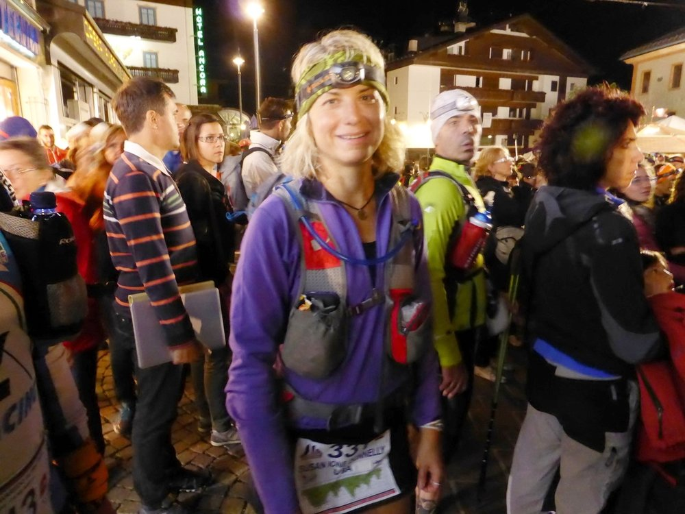 Ultrarunning mindset coach Susan Donnelly chills pre-race nerves at the start of Lavaredo 100k in Italy