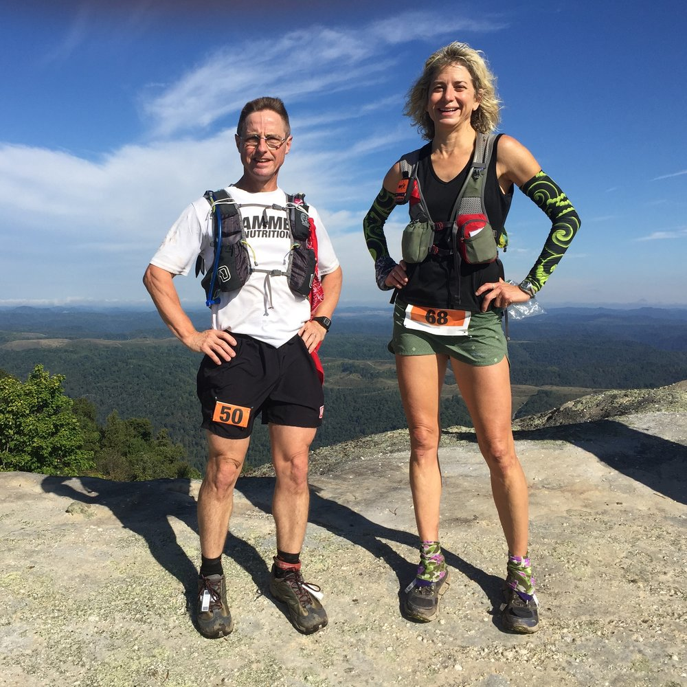 Mindset ultramarathon coach Susan Donnelly and Greg Trapp at Cloudsplitter 100 mile race