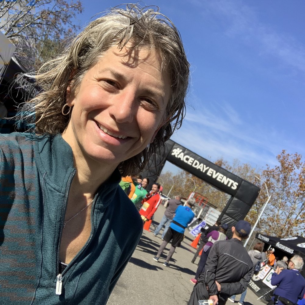 Susan Donnelly at the Oak Ridge Half Marathon finish