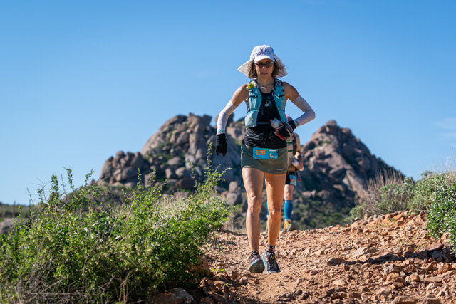 Susan Donnelly running Javelina 100-mile race.