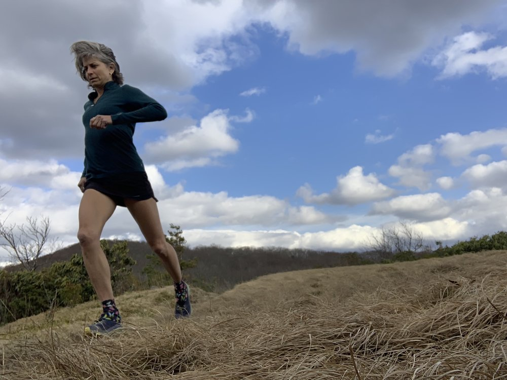 Susan Donnelly running in the Smokies.