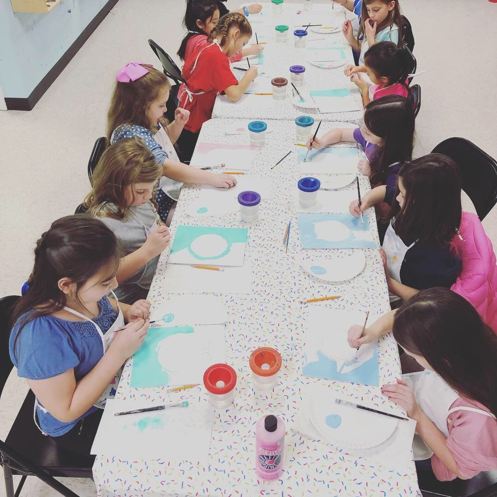 Canvas Party - $300 during open hours. $350 after hours. Children will enjoy 2.5 hours where they will complete a canvas and enjoy open studio time. Each party has a party host. No clean up hassle, we take care of the mess! Up to 12 children. $14 per additional children. Geared towards ages 5 and older. To make this a private party the cost is $500 and you may have up to 20 children. Add on $22 (per 12) if you would like artist food plates, desert plates, cups, & napkins. Table cloths are provided.
