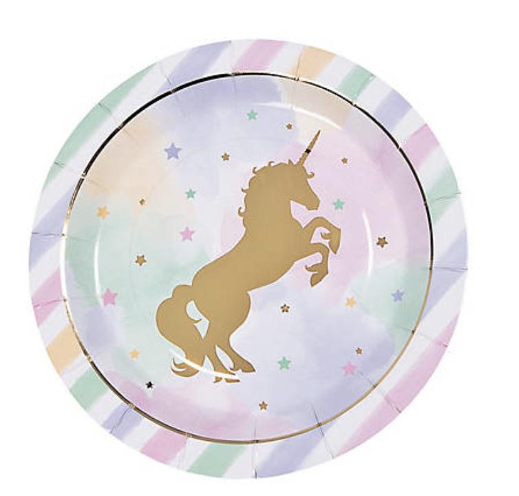 Unicorn party supply pattern.