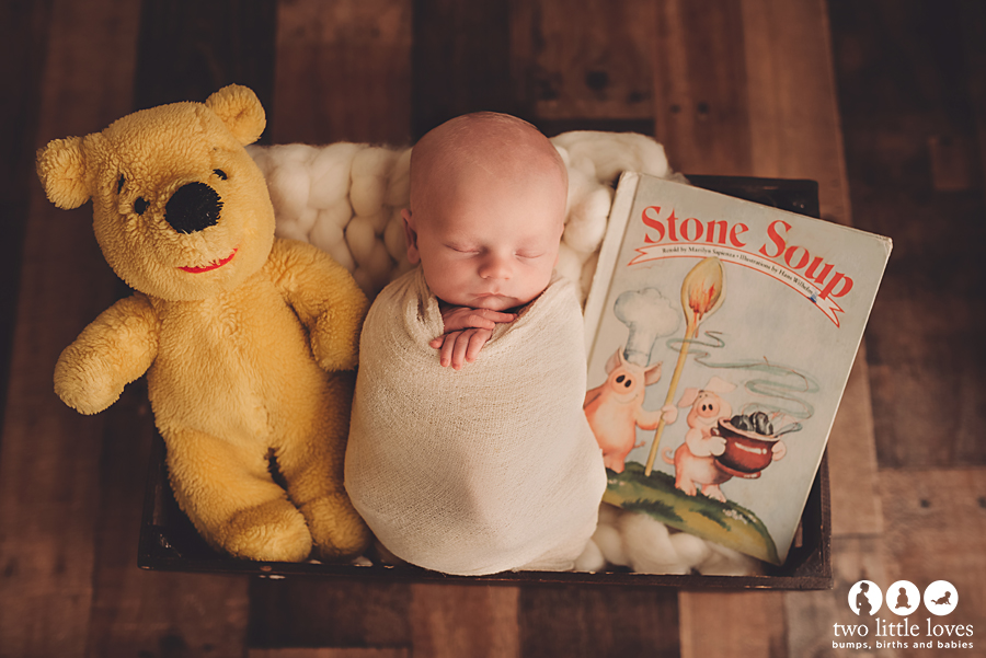 Daddy's bear from when he was a baby and mommy's favorite book as a child.
