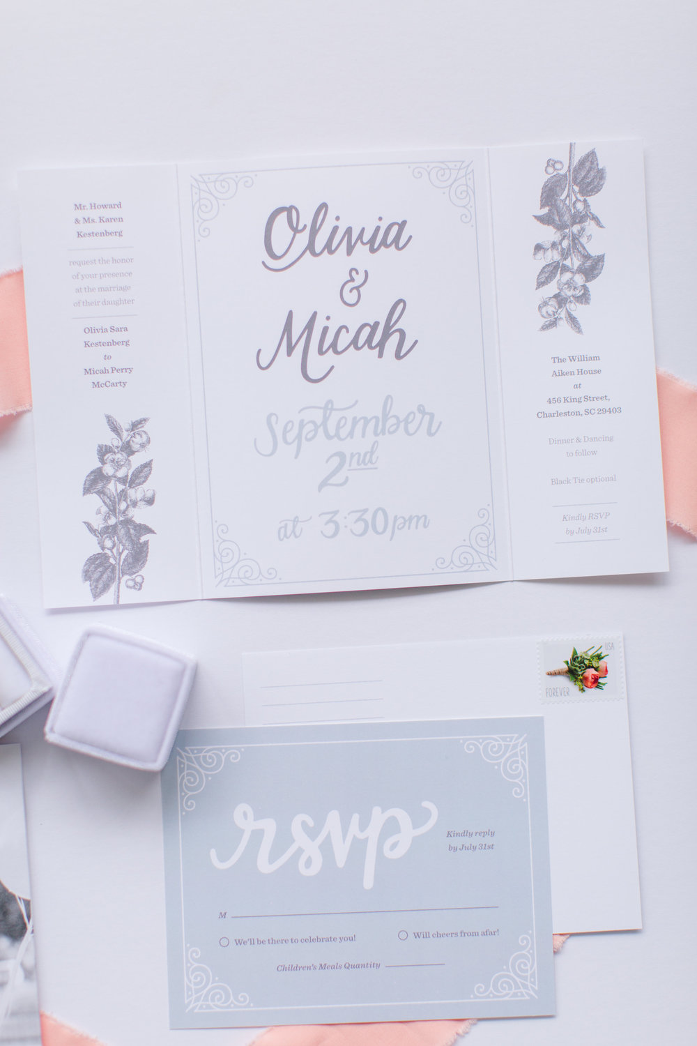 Thank you for designing us a one of a kind invitation for our wedding. Jess is incredibly easy to work with, talented, and professional. - Olivia & Micah, married 2018