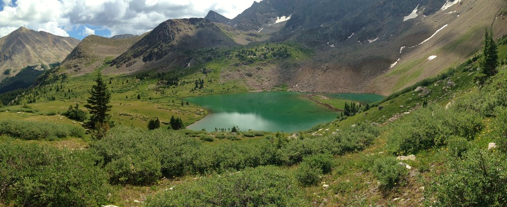 Day 17:  I hiked through the Collegiate Peaks Wilderness, past Huron Peak, Ice Mountain and beautiful Lake Ann, and then over the lake's namesake alpine pass (12,588').  Daily mileage: 16.1. Total miles: 219.1.