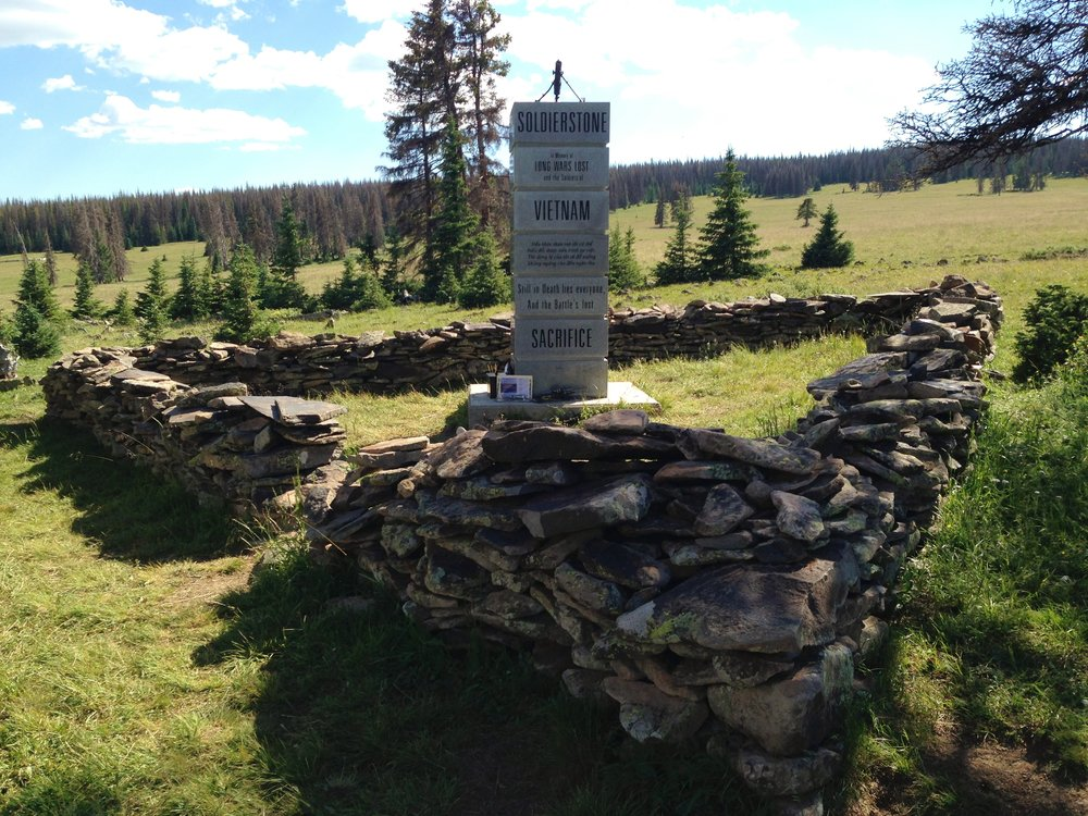 "Day 22:  I took a half-mile side trip to   Soldierstone  , a 10-foot granite backcountry memorial on top of Sargents Mesa. The memorial reads ""In memory of long wars lost and the soldiers of Vietnam, Laos and Cambodia.""  Daily mileage: 16.8. Total miles:   295.5."
