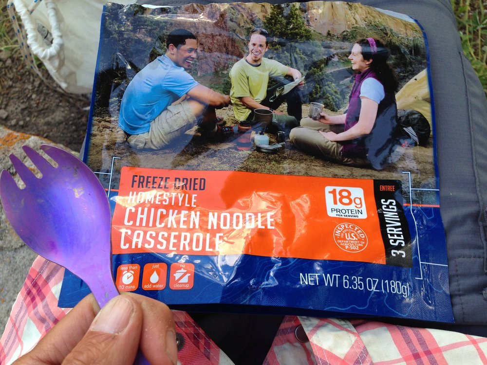 "Day 23:  When I made camp near the Lujan Pass Trailhead, I fixed this salty, three-serving dinner and ate the whole thing in one sitting. I was still hungry. The story ""  Coyote's Beauty Secrets  "" is about this difficult night and morning on the trail.  Daily mileage: 16.8. Total miles: 312.3."