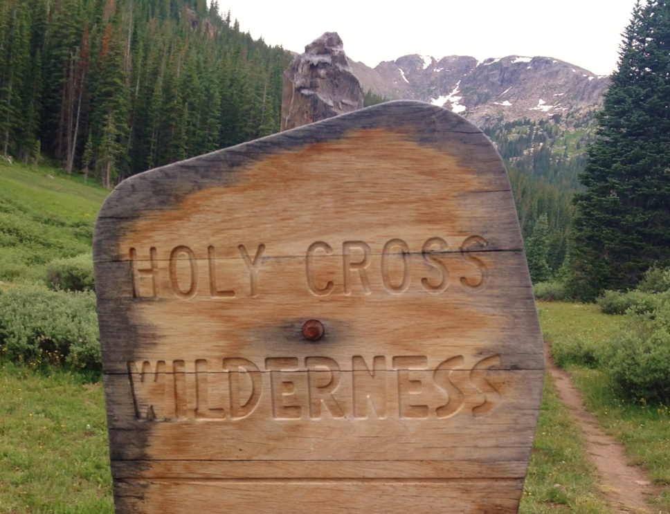 Segment 9 Holy Cross wilderness sign photo by Becky Jensen.jpg