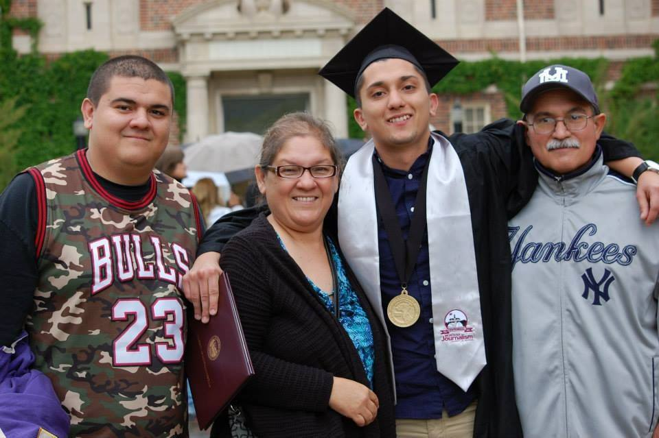 Justin and his parents at his cousin Ricky's graduation from the University of Montana in 2015. His degree led him to be a reporter for the Washington Post.