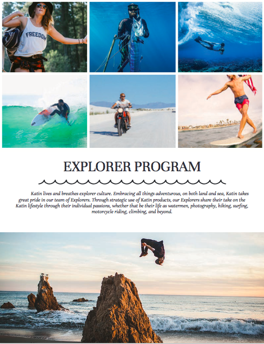 Katin Explorer Ambassador Program catalog copy.