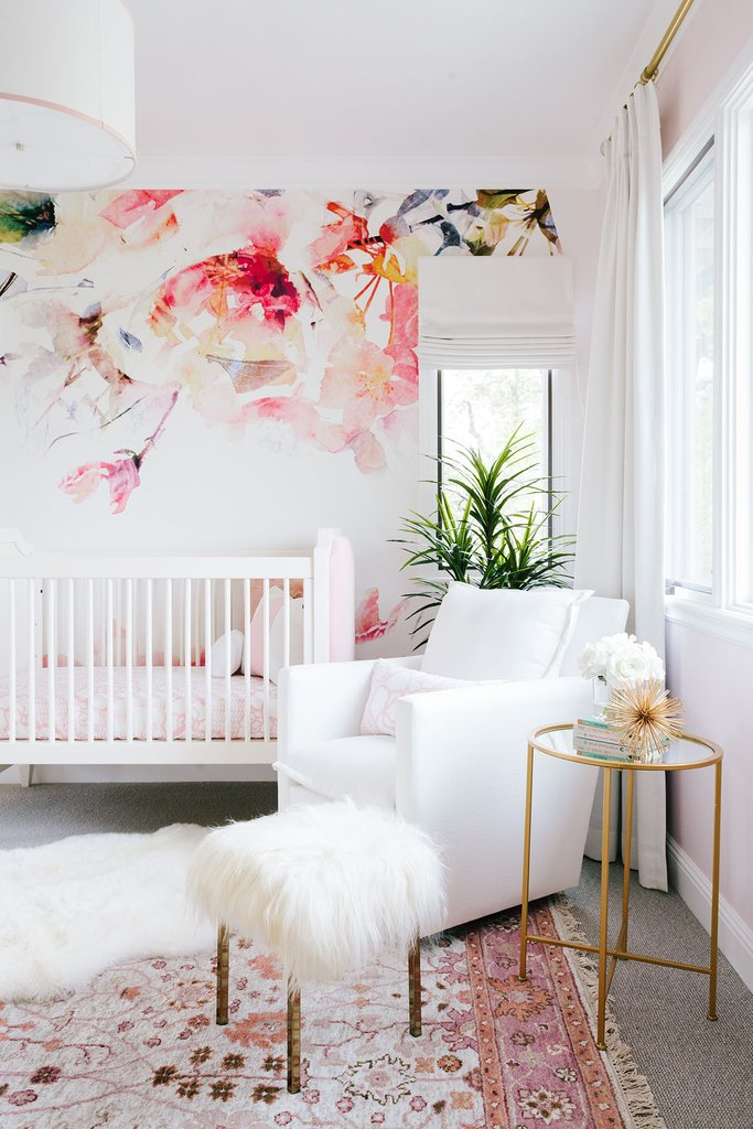 Glider ,  Side Table ,  Blush Rug , Sheepskin Rug (Home Goods)  similar  +  here ,  Fur Stool ,  Roman Shade  +  Drapes ,  Wallpaper ,  Crib ,  Bedding ,  Pendant Light
