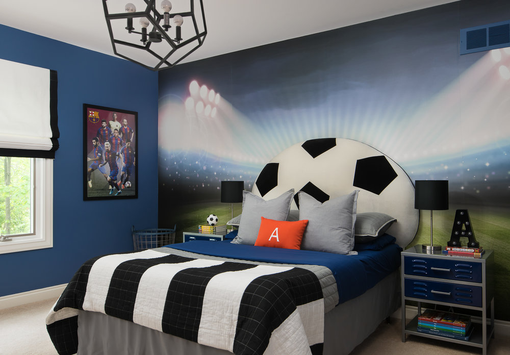 soccer mural for boys room