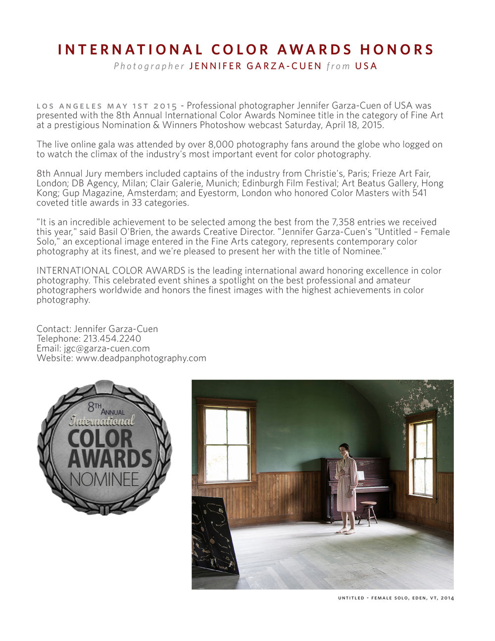 Color Awards Press Release 2015