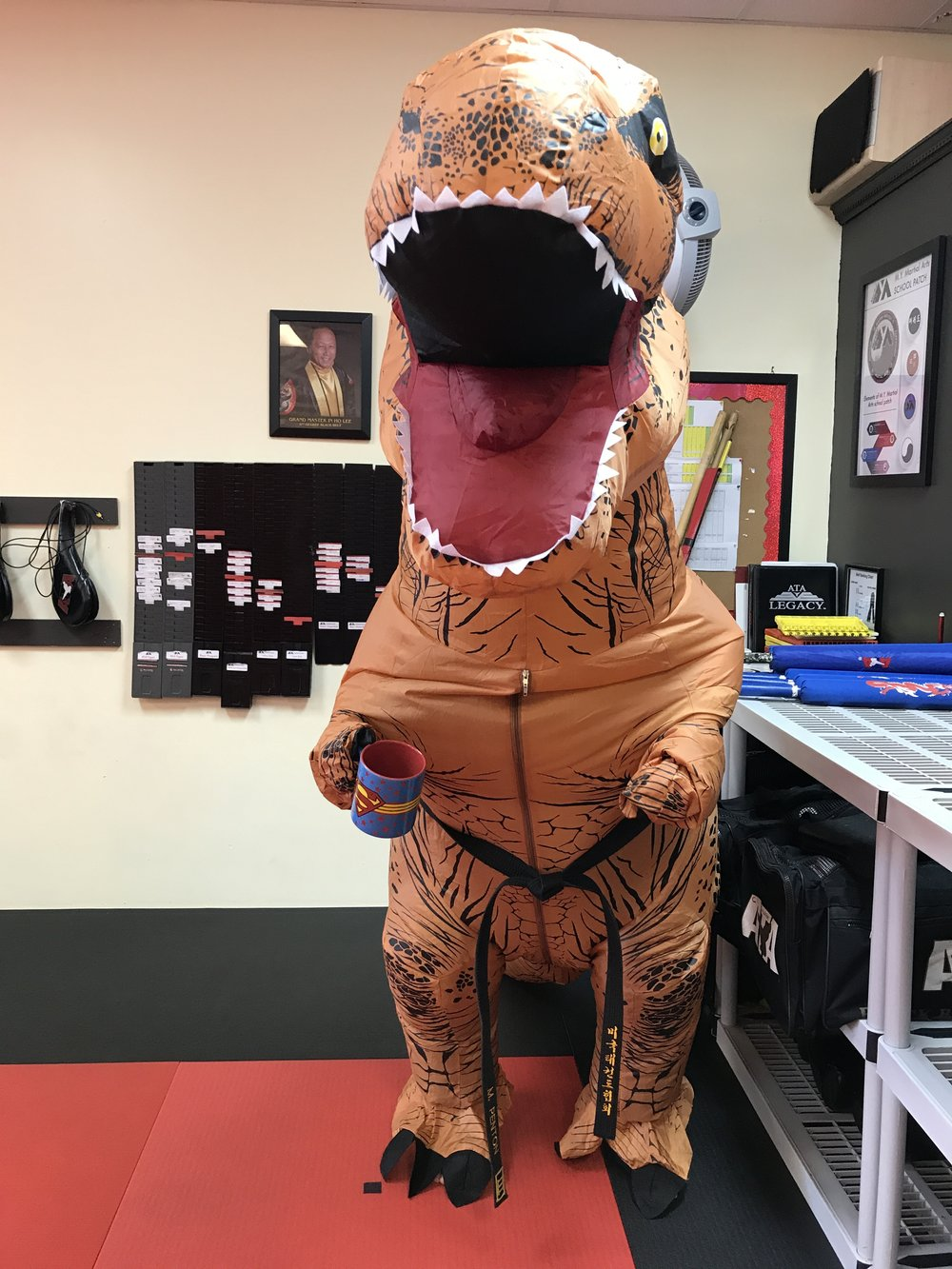 Taekwondosarus Rex Drinks Coffee