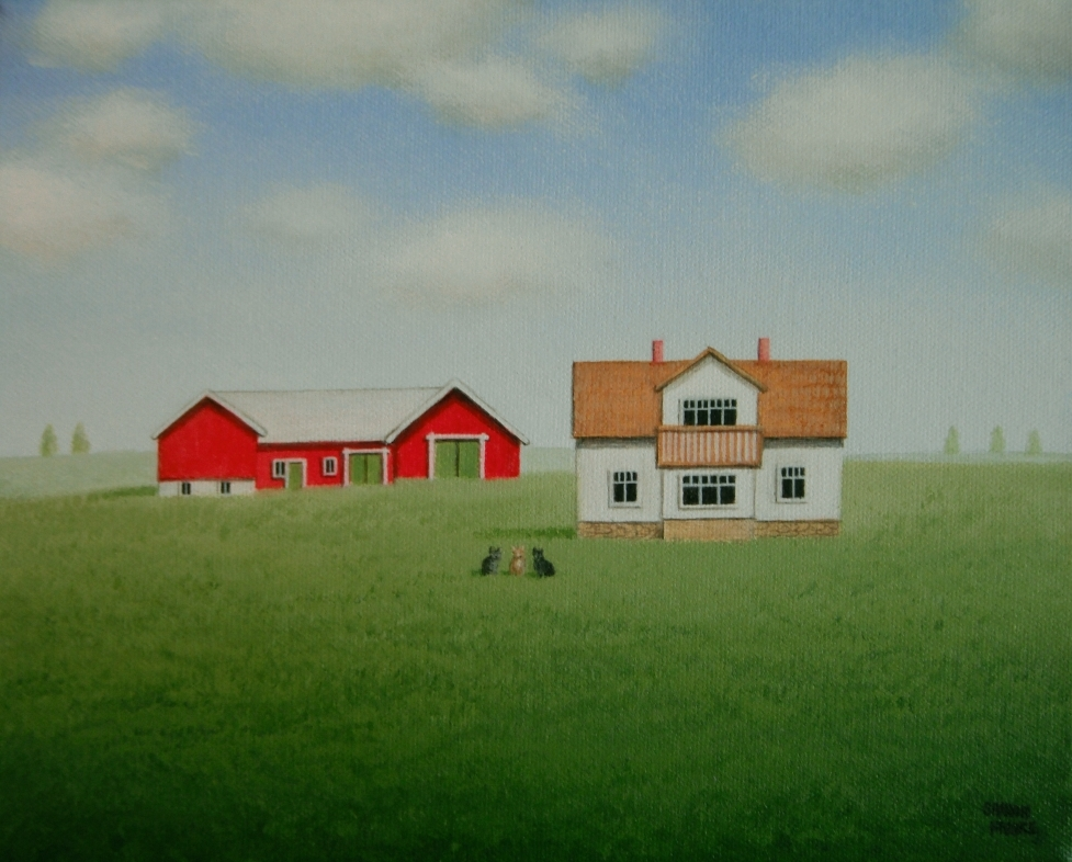 This portrait was painted for a couple in Sweden of their farm and three pet cats in the scene also.  A fun painting to work on!