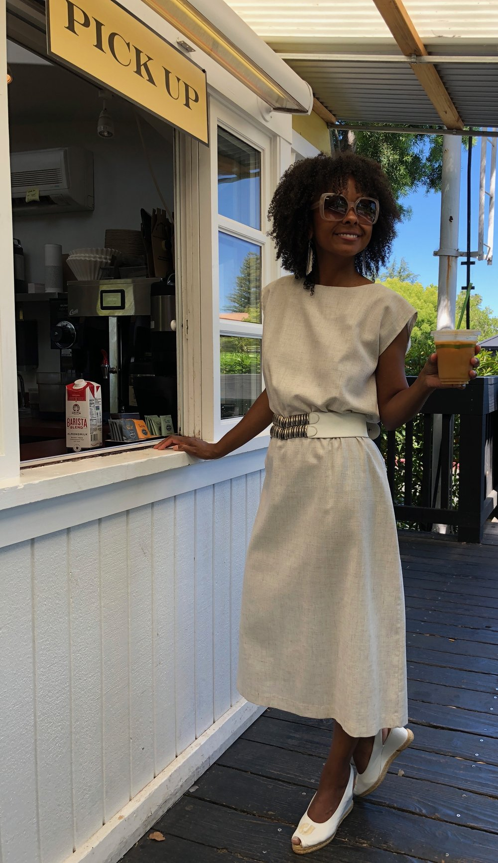 Photos taken at  Mini Model Bakery  in Yountville where the iced coffee and homemade English muffins are a must. My sleeveless dress, leather belt and  Charles Jourdan slides  were too!