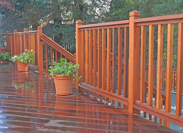IPE DECK AND REDWOOD RAILING