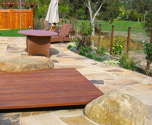 IPE SUN DECK AND FLAGSTONE PATIOS