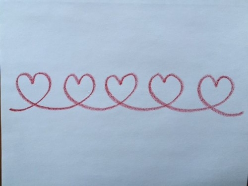 Hearts in a row form drawing for Valentine's Day | Lavender's Blue Homeschool