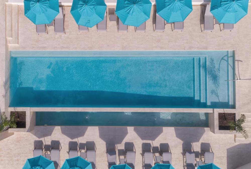 Infinity pool drone shot