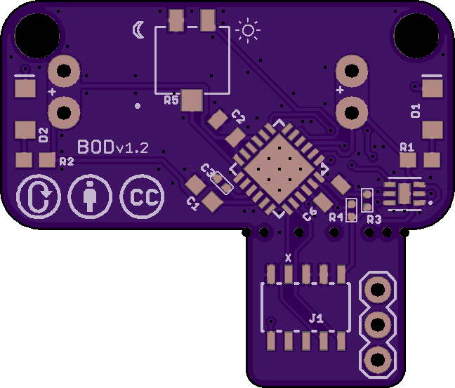 Front of PCB. D1 and D2 are where the LEDs go.