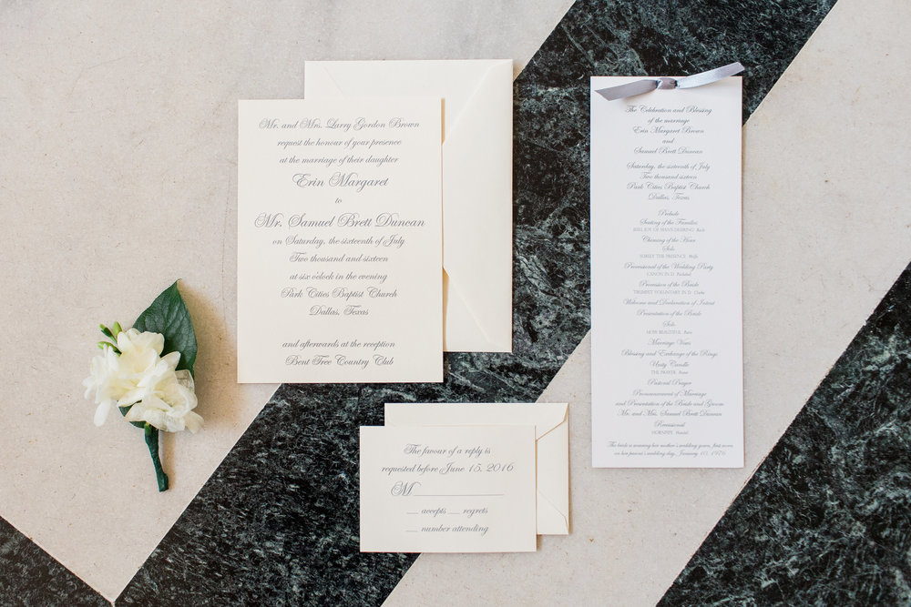 Our invitations came from Paper Affair in Dallas and they were classic engraved invitations.