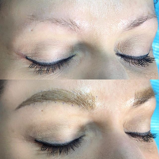 Really excited for this transformation! 👏🏻👏🏻👏🏻 This lovely lady had almost no brow hair which means we will be building her brow over the course of a few sessions. Can't wait to work with her again! 😍 #lindenbrows @thenewmoonstudio