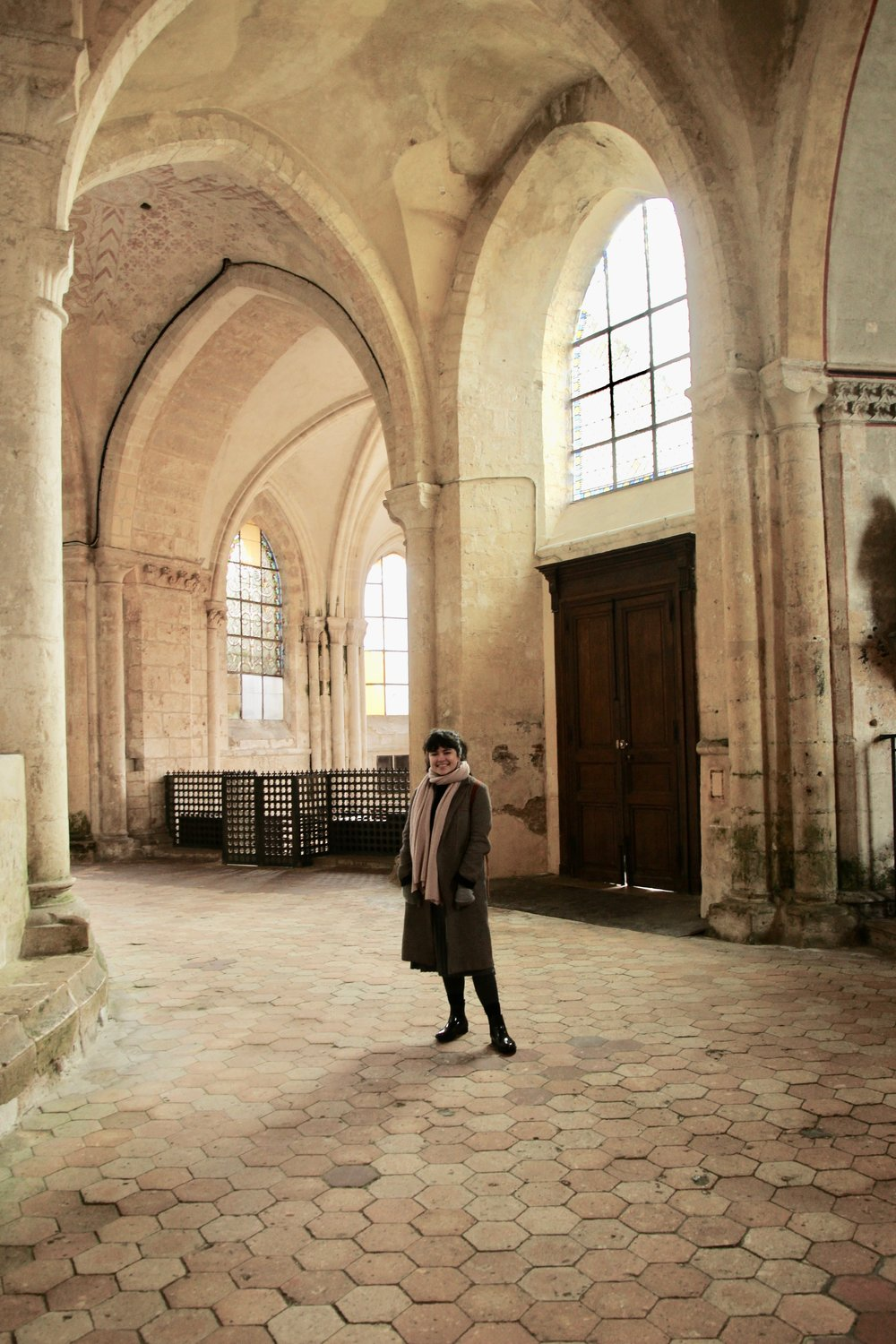 This picture was actually taken on a day trip to Chartres, when we snuck into a church and a castle •<:^)