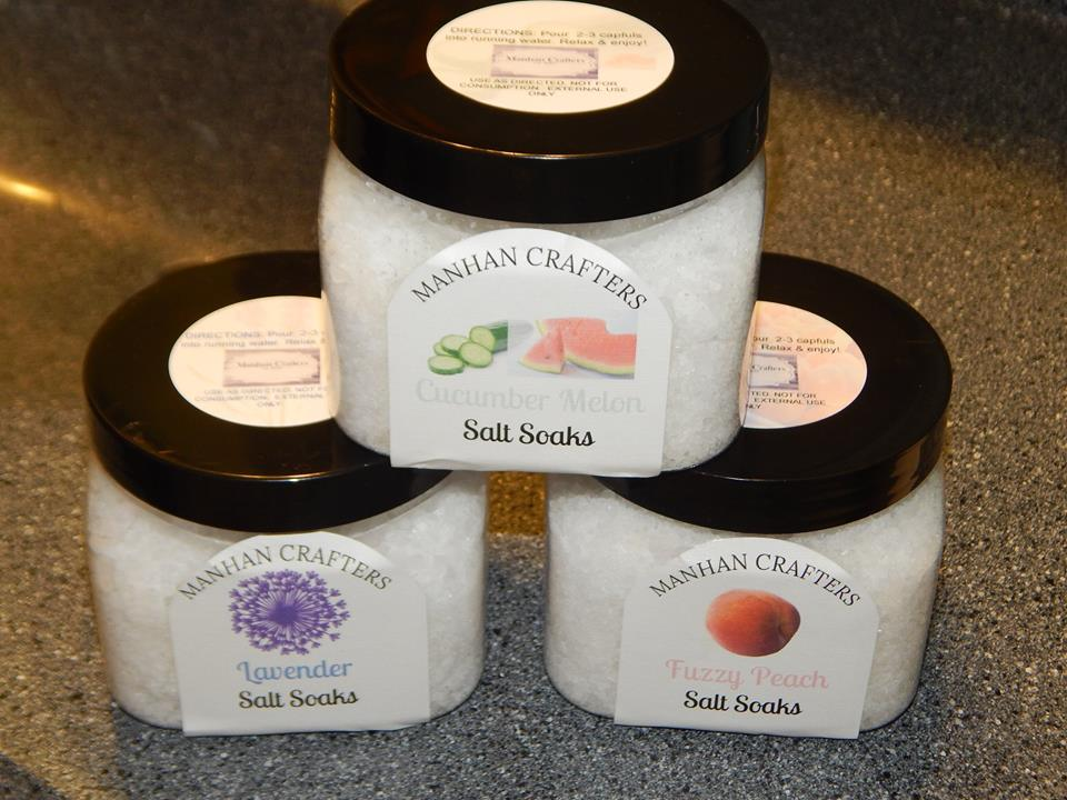 Salt Soaks are - Made with sustainably sourced, naturally evaporated sea salt and Epsom saltScented with essential or fragrance oilSealed and capped for freshness