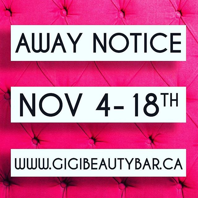 Please take note and book your appointments accordingly! I will be away from November 4th-18th.  Thank-you!  ______________  BOOK ONLINE! Check it out along with our other services we offer such as a waxing! http://gigis-beauty-bar.genbook.com Questions? You may call/txt 📞705-341-9089 Visit www.gigibeautybar.ca for our list of beauty services✨ 📍Located @ 232 Main St Bobcaygeon, ON  _______________  #eyelashes #extensions #eyelashextension #bobcaygeon #kawarthalakes #peterboroughlashes #ontariolashes #lashes #salon #beauty #beautybar #lashme #oshawalashes #lashlift #eyelashperm #lashperm #beautybar #kawarthapeeps #eyelashartist #lashartist #lashtech #oshawalashes #volumelashextensions #volumelash #lashliftandtint #browwax #browtint #browtinting #lashlifting #lashgoals