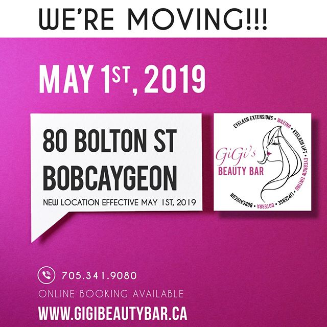 We have officially moved! We are now at 80 Bolton St which is downtown Bobcaygeon, Ontario!  ______________________ You may BOOK your appointments ONLINE! Check it out along with our other services we offer such as a waxing! http://gigis-beauty-bar.genbook.com  Questions? You may call/txt 📞705-341-9089  Visit www.gigibeautybar.ca for our list of beauty services✨
